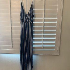 Striped bell bottom romper